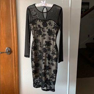 Mesh Lace Black Floral Long Sleeve Midi Dress